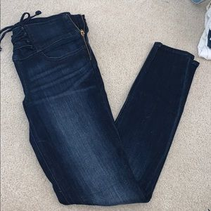 Skinny high rise Jeans with side zipper